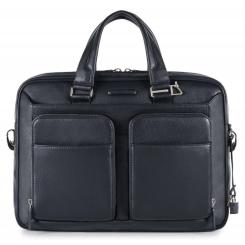 Мужская кожаная деловая сумка темно синего цвета, модель для документов и ноутбука от Piquadro, арт. pq-409529