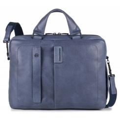 Мужская кожаная деловая сумка синего цвета, модель для документов и ноутбука от Piquadro, арт. pq-472142