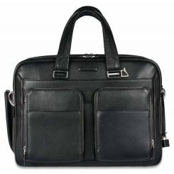 Черная мужская деловая сумка большого размера из натуральной кожи с отделом под средний ноутбук от Piquadro, арт. pq-472238
