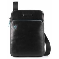 Маленькая мужская сумка из черной гладкой натуральной кожи с голубой отделкой от Piquadro, арт. CA3978B2/N