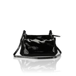 Лакированная женская сумка через плечо из натуральной кожи, стильная и удобная от Plinio Visona, арт. 16660.Napl.Cam/NERO