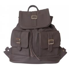 Женский рюкзак из темно-коричневой натуральной кожи, модель с необычным дизайном от Ricadi, арт. 103/02
