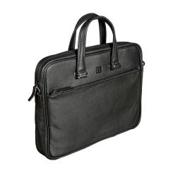 Практичная мужская деловая сумка из черной натуральной кожи от Sergio Belotti, арт. 010-2814 denim black