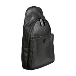 Модный мужской рюкзак на одно плечо из черной натуральной кожи от Sergio Belotti, арт. 011-0662 denim black