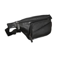 Стильная мужская сумка на пояс из черной натуральной кожи от Sergio Belotti, арт. 012-2314 denim black