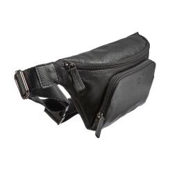 Аккуратная мужская сумка на пояс из черной натуральной кожи от Sergio Belotti, арт. 012-2315 denim black