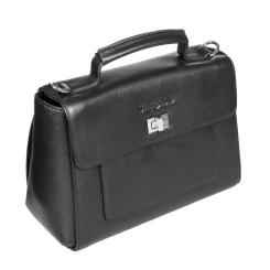 Женская кожаная сумка черного цвета с оригинальным замком на клапане от Sergio Belotti, арт. 275-01 black