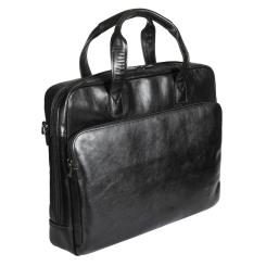 Черная мужская деловая сумка из натуральной кожи с большим накладным карманом от Sergio Belotti, арт. 6009 milano black