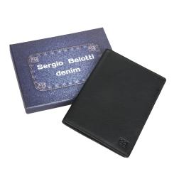 Обложка для паспорта из натуральной кожи с двумя кармашками внутри от Sergio Belotti, арт. 2464-02 denim black