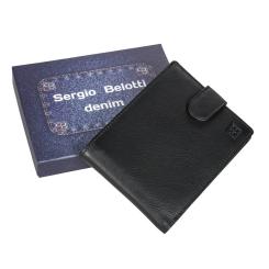 Классическое мужское портмоне из черной натуральной кожи от Sergio Belotti, арт. 533-02 denim black