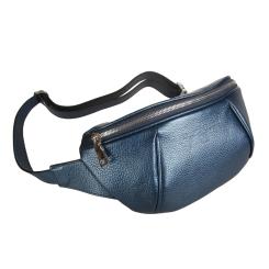 Элегантная женская кожаная сумка на пояс, модель синего цвета от Sergio Belotti, арт. 3419 blue metallic