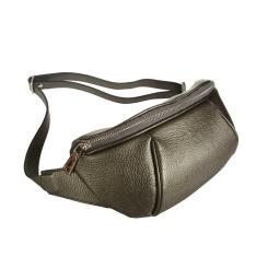 Стильная женская поясная сумка из натуральной кожи от Sergio Belotti, арт. 3419 bronze metallic