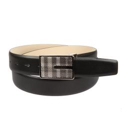 Мужской ремень для брюк, выполнен из черной натуральной кожи на подкладке от Sergio Belotti, арт. 4903/35 Nero Pal Rutenio