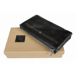 Красивый женский кошелек из натуральной кожи черного цвета от Sergio Belotti, арт. 2773 west black