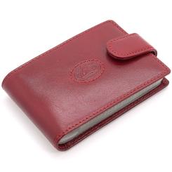 Элегантная кожаная визитница красного цвета, модель с застежкой на кнопке от Tony Perotti, арт. 331266/4
