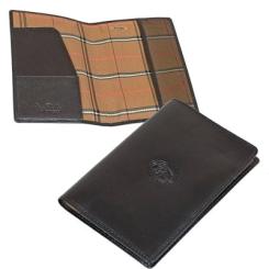 Кожаная обложка для паспорта черного цвета с клетчатой подкладкой от Tony Perotti, арт. 331290/1