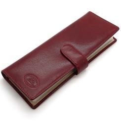 Стильная красная визитница из натуральной кожи с ремешком застежкой от Tony Perotti, арт. 331412/4
