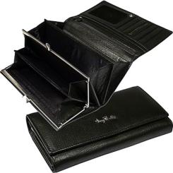Стильный кожаный женский кошелек черного цвета, модель с клапаном на кнопке от Tony Perotti, арт. 561049l/1