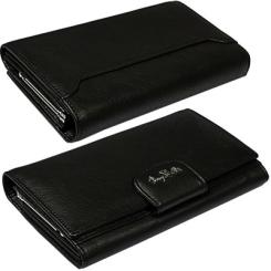 Стильный женский кошелек черного цвета, выполнен из натуральной кожи от Tony Perotti, арт. 561116/1