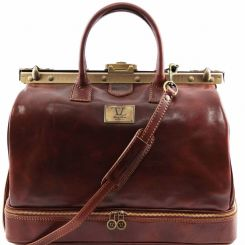 Мужской саквояж из коричневой натуральной кожи c бронзовой фурнитурой от Tuscany Leather, арт. BARCELLONA TL141185