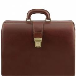 Строгий и элегантный мужской портфель из коричневой натуральной кожи от Tuscany Leather, арт. Canova TL141347