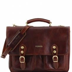Мужской портфель среднего размера, выполненный из плотной натуральной кожи от Tuscany Leather, арт. MODENA TL141134