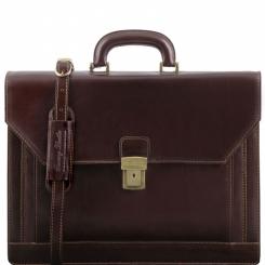 Большой классический мужской портфель из гладкой натуральной кожи от Tuscany Leather, арт. Napoli TL141348