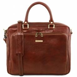 Мужской кожаный портфель коричневого цвета, из натуральной кожи растительного дубления от Tuscany Leather, арт. Pisa TL141660
