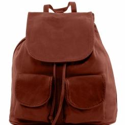Практичный мужской кожаный рюкзак с накладными карманами с лицевой стороны от Tuscany Leather, арт. Seoul TL141508