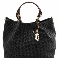 Женская сумка оригинальной формы, выполненная из плетенной натуральной кожи от Tuscany Leather, арт. TL KeyLuck TL141568