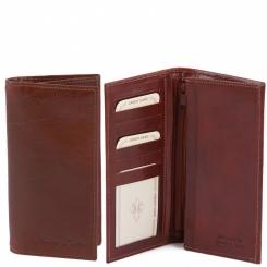 Большое вертикальное мужское портмоне из коричневой натуральной кожи от Tuscany Leather, арт. TL140777