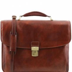 Строгий и стильный мужской кожаный портфель с жесткой верхней ручкой от Tuscany Leather, арт. Alessandria TL141448