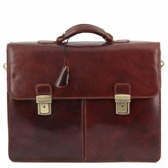 Коричневый мужской кожаный портфель с большими накладными карманами от Tuscany Leather, арт. BOLGHERI TL141144