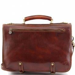Мужской кожаный портфель в ретро стиле роскошного коричневого оттенка от Tuscany Leather, арт. CAPRI TL10068