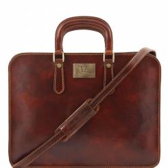 Стильная деловая мужская сумка из коричневой кожи, модель для документов от Tuscany Leather, арт. ALBA TL140961