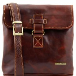 Мужская кожаная сумка планшет с оригинальным ремешком-застежкой от Tuscany Leather, арт. ANDREA TL9087