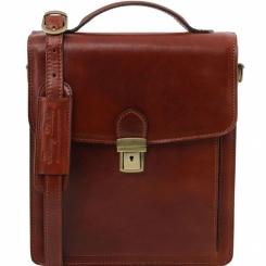 Маленькая мужская сумка из натуральной кожи с портфельной застежкой от Tuscany Leather, арт. David TL141424