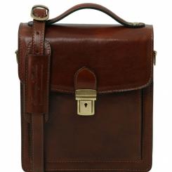 Мужская маленькая сумка с жесткой, устойчивой конструкцией и портфельной застежкой от Tuscany Leather, арт. David TL141425