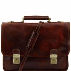 Стильный большой мужской портфель из коричневой натуральной кожи от Tuscany Leather, арт. FIRENZE TL10028