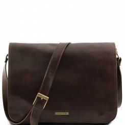 Мужская сумка через плечо из натуральной кожи, модель под документы и ноутбук от Tuscany Leather, арт. MESSENGER DOUBLE TL90475