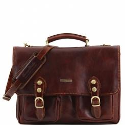 Мужской кожаный портфель с широким клапаном и двумя сквозными замками от Tuscany Leather, арт. MODENA TL100310