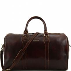 Мужская дорожная сумка из полированной натуральной кожи темно коричневого цвета от Tuscany Leather, арт. OSLO TL1044