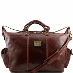 Стильная мужская кожаная дорожная сумка с двумя боковыми карманами от Tuscany Leather, арт. PORTO TL140938