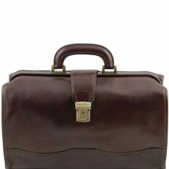 Классический мужской кожаный саквояж с рамочной застежкой и ремешком от Tuscany Leather, арт. RAFFAELLO TL10077