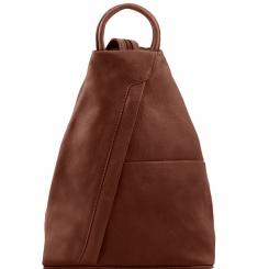 Стильный женский коричневый кожаный рюкзак на одной толстой лямке от Tuscany Leather, арт. SHANGHAI TL140963