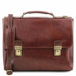 Стильный мужской кожаный портфель коричневого цвета в ретро стиле от Tuscany Leather, арт. TRIESTE TL141662