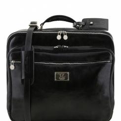 Мужской портплед из плотной коричневой кожи с длинной выдвижной ручкой от Tuscany Leather, арт. Varsavia TL141454