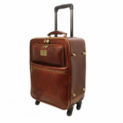 Вместительная мужская кожаная дорожная сумка-чемодан на колесиках от Tuscany Leather, арт. Voyager TL141390
