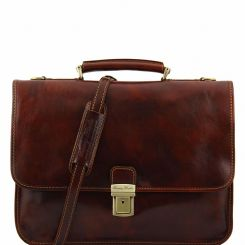 Практичный мужской кожаный портфель с двумя отделами и внешними карманами от Tuscany Leather, арт. TORINO TL10029