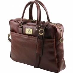 Коричневый мужской портфель из плотной и гладкой натуральной кожи от Tuscany Leather, арт. URBINO TL141241